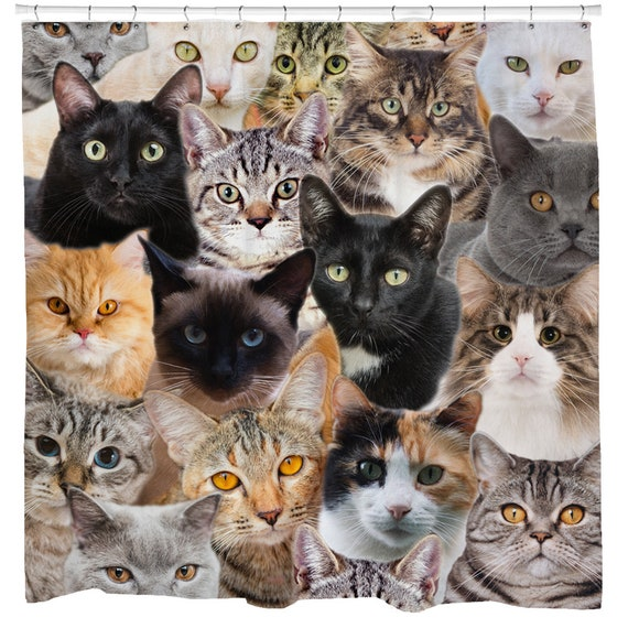 Cat Shower Curtain, Funny Shower Curtain, Grumpy Cat, Black Cat, Cat Collage, Ginger Cat, White Cat, Tabby Cat, Persian Cat, Gift Cat Lover