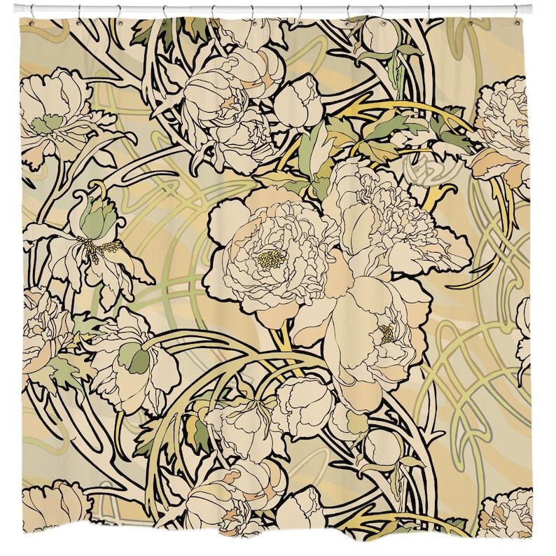 Art Nouveau Shower Curtain Floral Bath Nature