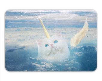 Cat Bath Mat, Unicorn Bathroom Rug, Memory Foam Bathroom Carpet, Unicorn Rug Mat, Cats And Unicorns Decor, Blue House Mat, Printed in USA