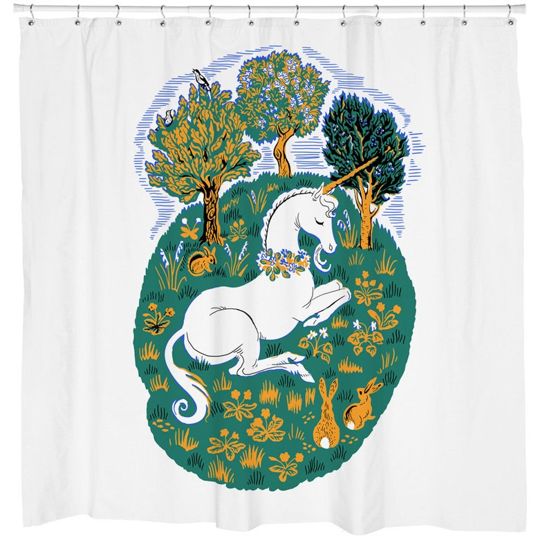 Unicorn Shower Curtain Rabbit Boho Chic