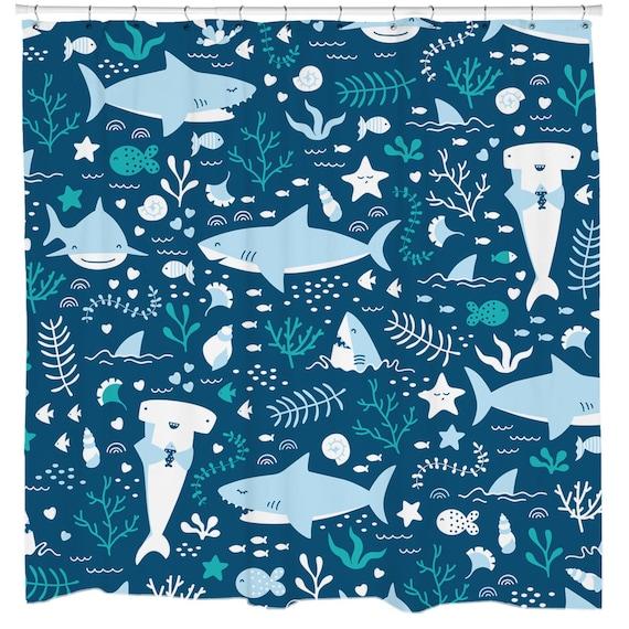 Shark Shower Curtain Fish Kids