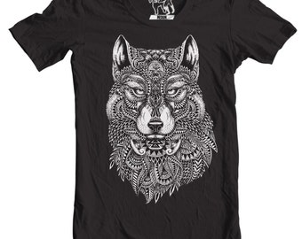 Tribal Wolf T-Shirt, Tees for Guys, Sizes S - 3XL