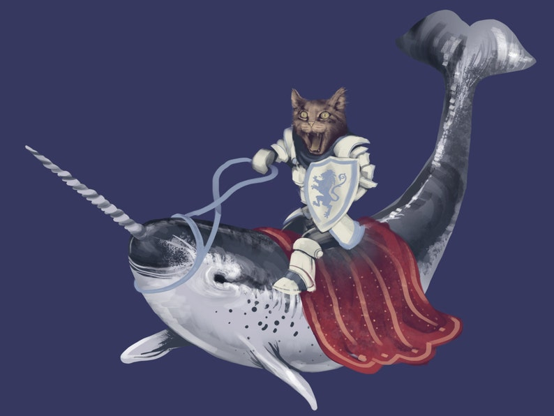 2f82164e6ccd Cat Riding Narwhal T Shirt Funny Animal Shirts Quirky   Etsy