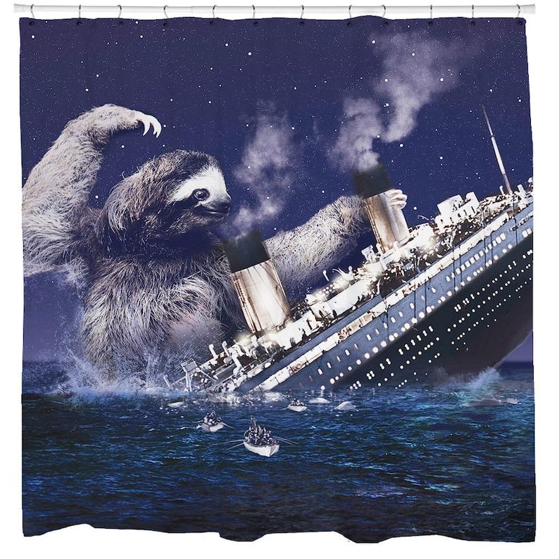 Sloth Shower Curtain Funny Titanic Bathroom
