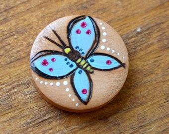 Butterfly Burned Bead