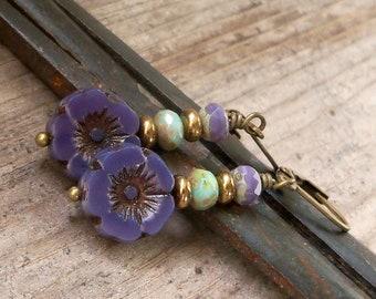 Purple Earrings - Pure Titanium Earrings - Floral Earrings - Hypoallergenic - Dangle Earrings - Beaded Earrings - Boho Earrings