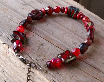 Red Beaded Bracelet - Beaded Bracelet - Womens Bracelet - Boho Bracelet - Bead Jewelry - Red Bracelet - Adjustable Bracelet - Gift for Her