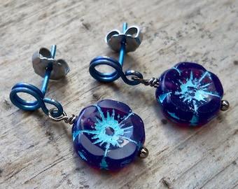 Titanium Stud Earrings -  Purple Flower Earrings - Hypoallergenic Earrings - Boho Stud Earrings - Gift for Girl