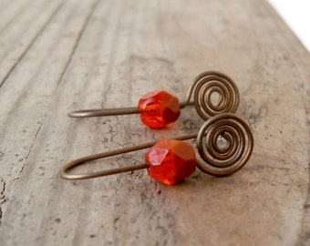 Hypoallergenic Earrings for Sensitive Ears - Pure Titanium Earrings - Orange Earrings - Autumn Series16