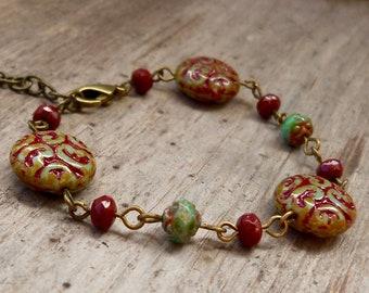 Boho Bracelet - Bead Bracelet - Czech Bead Jewelry - Boho Jewelry - Timeless Autumn Series