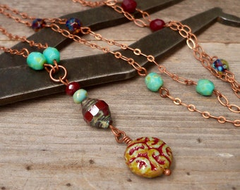 Beaded Necklace - Layering Necklace - Boho Necklace - Autumn Jewelry - Timeless Autumn Series