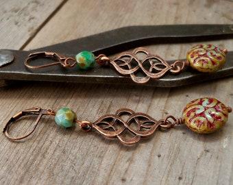 Long Dangle Earrings - Boho Jewelry - Unique Earrings - Timeless Autumn Series