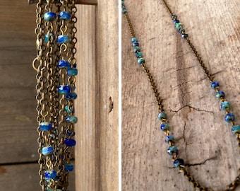 Convertible Necklace - Bead Necklace - Bead Bracelet for Women - Lightweight Bracelet - Long Necklace - Layering Bracelet - Cobalt Blue