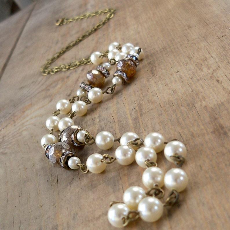 Rustic Wedding  Vintage Style Necklace  Ivory Swarovski image 0
