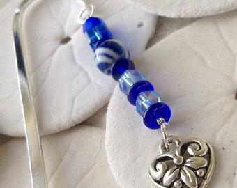 Bookmark - Beaded Bookmark - Heart Charm Bookmark - Silver Bookmark - Blue Bookmark - Unique Bookmark - Gift For Teacher - Gift for Mom