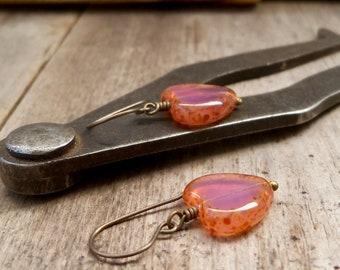 Hypoallergenic Dangle Earrings - Heart Earrings - Pink Earrings - Gift for Friend