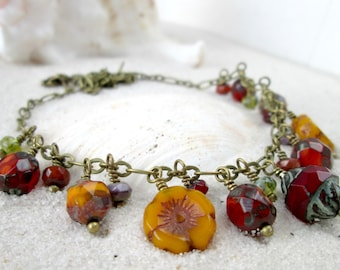 Boho Jewelry - Autumn Jewelry - Boho Necklace - Autumn Inspired Necklace - Beaded Necklace - Orange and Red Necklace - Autumn Series16