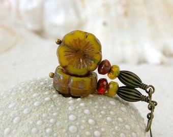 Dangle Earrings - Yellow Earrings - Hypoallergenic Titanium - Beaded Dangle Earrings - Bead Jewelry - Gift For Her - Orange and Green Series