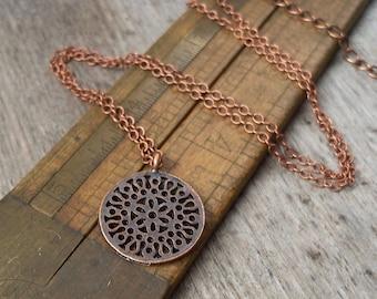 Copper Minimalist Necklace - Copper Necklace - Pendant Necklace - Flower Necklace - Gift for Friend
