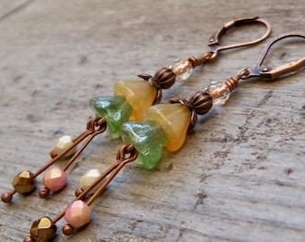 Long Dangle Earrings - Boho Bead Earrings - Bell Flower Earrings - Summer Jewelry - Mothers Day Gift - SpringMix Series