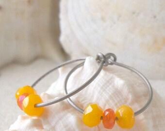 Hypoallergenic Earrings - Gift for Her - Hoop Earrings - Titanium Hoops- Hoop Earrings for Sensitive Ears - Gift Idea - Titanium Earrings