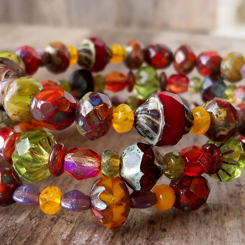 Fall Fashion Bead Bracelet  Memory Wire Wrap Bracelet  image 0