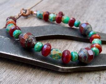Rustic Boho Bracelet - Beaded Bracelet - Boho Jewelry - Boho Bracelet - Birthday Gift for Her - Timeless Autumn Series