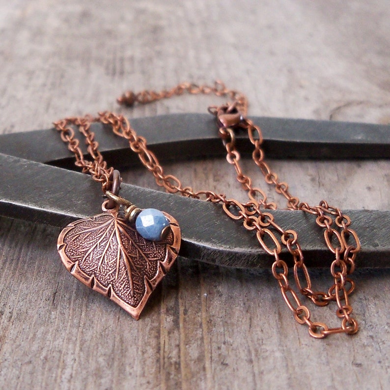 Delicate Leaf Necklace  Copper Leaf Necklace  Boho Jewelry  image 0