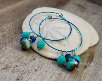 Pure Titanium Hypoallergenic Hoop Earrings with Beads - Titanium Earrings for Sensitive Ears - Sapphire, Cobalt Blue and Turquoise Series