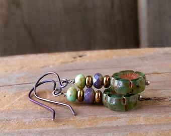 Flower Earrings - Hypoallergenic - Titanium Earrings - Pure Titanium - Boho Earrings - Dangle Earrings - Bead Earrings - Drop Earrings