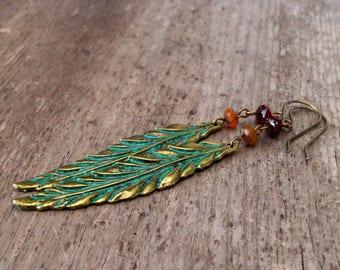 Autumn Jewelry - Leaf Earrings - Long Dangle Earrings - Hypoallergenic - Boho Jewelry - Fall Jewelry - Statement Earrings - Fall Leaf 2017