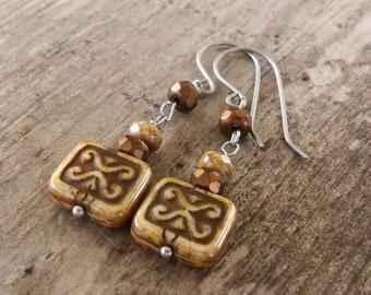 Hypoallergenic - Dangle Earrings - Beaded Earrings - Titanium Earring - Handmade Earrings - Brown Earrings - Earrings for Sensitive Ears