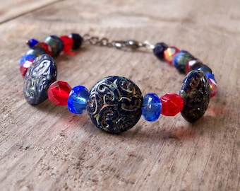 Patriotic Jewelry - Beaded Bracelet - Patriotic Bracelet - Boho Bracelet - Bead Jewelry - Women's Bracelet - Red and Blue Bracelet