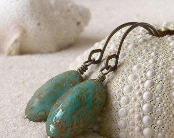 Boho Earrings- Beaded Earrings- Handmade Jewelry - Turquoise Earrings - Rustic Earrings - Drop Earrings - Bead Earring - Dangle Earrings