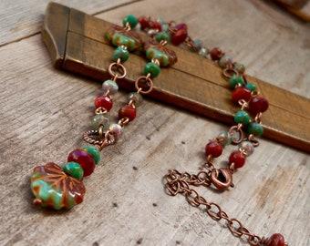 Leaf Necklace - Autumn Jewelry - Copper Jewelry - Maple Leaf Necklace - Timeless Autumn Leaf Series