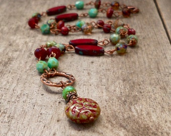 Turquoise Necklace - Bead Necklace - Burgundy - Autumn Jewelry - Christmas Necklace - Copper jewelry - Timeless Autumn Series