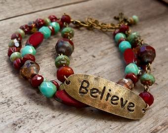 Multistrand Beaded Bracelet - Czech Bead Bracelet - Boho Bracelet - Adjustable Bracelet - Mothers Day Gift - Timeless Autumn Series