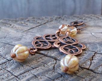 Champagne Earrings - Boho Wedding Earrings - Rustic Wedding - Copper Jewelry - champagnecreamseries