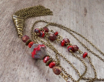 Long Red Beaded Necklace - Antique Brass Beaded Necklace - Gift For Wife