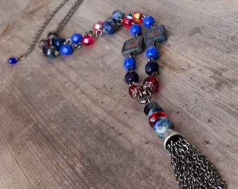 Tassel Necklace - Chain Tassel Necklace - Bead Necklace - Bead Jewelry - Boho Jewelry - Red and Blue Jewelry - Red and Blue Necklace
