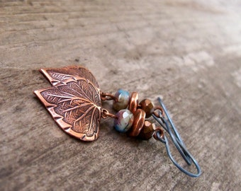 Titanium Earrings with Copper Accents - Boho Copper Earrings - Boho Copper Jewelry - Leaf Earrings - Boho Jewelry - Burnished Blue Series18