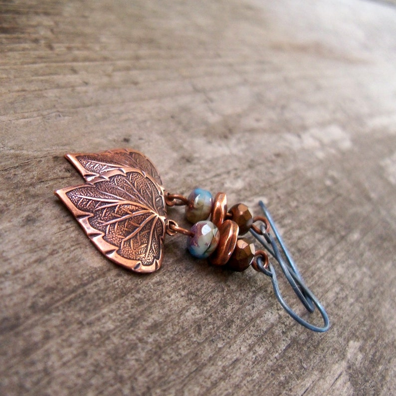 Titanium Earrings with Copper Accents  Boho Copper Earrings  image 0