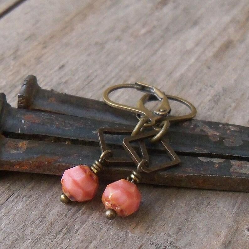 Beaded Dangle Earrings   Coral Bead Earrings  Beaded image 0
