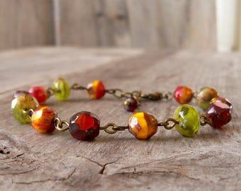 Bead Jewelry - Orange Bracelet - Green Bracelet - Bead Bracelet - Boho Bracelet - Chunky Bracelet - Fall Colored Bracelet - Autumn Series16