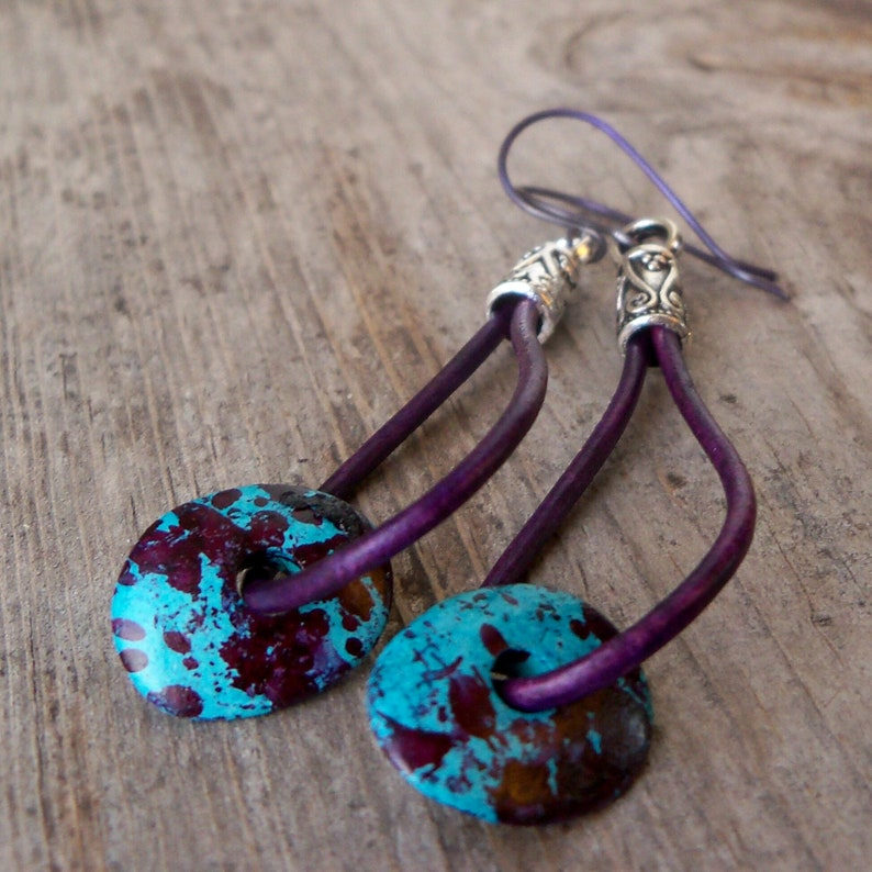 Purple Leather Earrings  Leather Hoop Earrings  Leather image 0