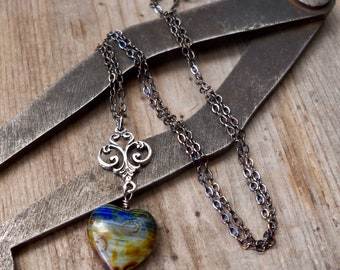 Boho Heart Necklace - Rustic Boho Necklace - Blue Heart Pendant - Gift for Wife