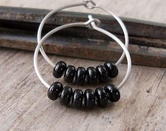 Hypoallergenic Hoop Earrings - Black Hoop Earrings - Gift for Her - Pure Titanium Hoop Earrings