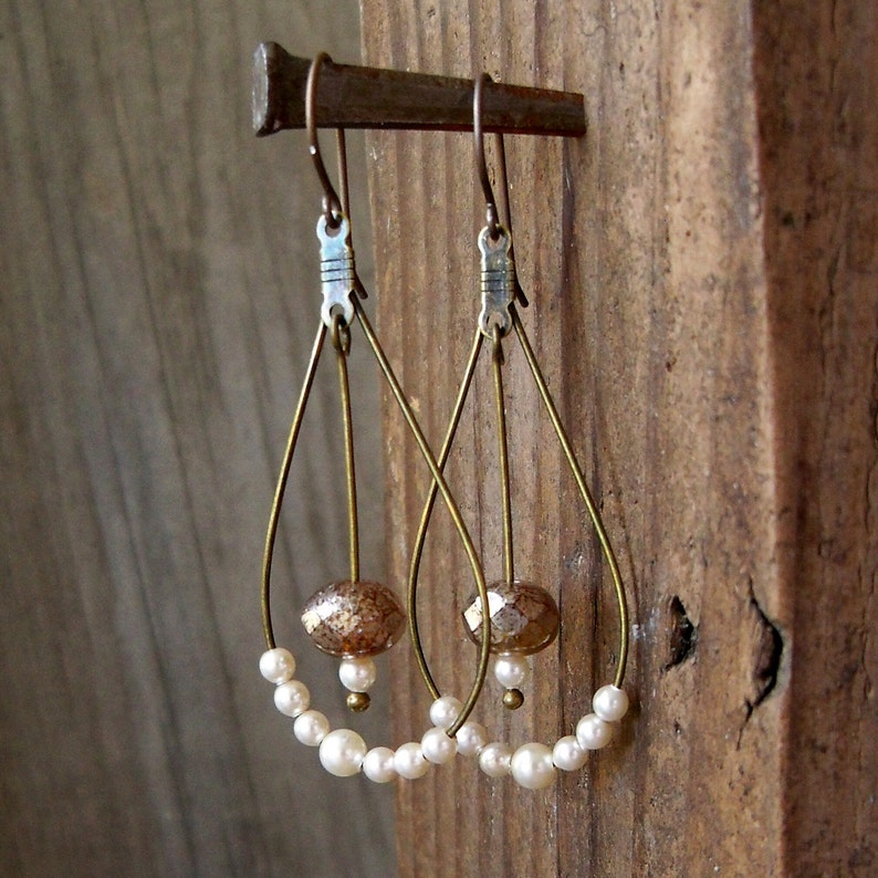 Hypoallergenic  Hoop Earrings  Wedding Jewelry  Ivory Pearl image 0