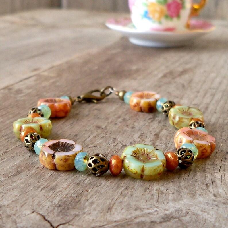 Gift Idea for Mom  Victorian Style Handmade Bracelet  Beaded image 0