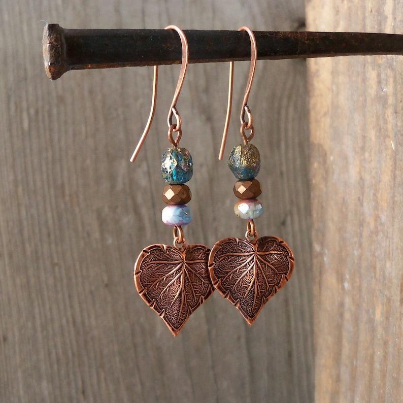 Boho Copper Earrings  Boho Copper Jewelry  Leaf Earrings  image 0